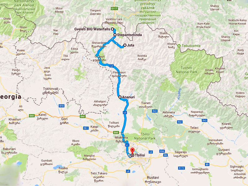 map-Trekking at the foot of Mount Kazbek