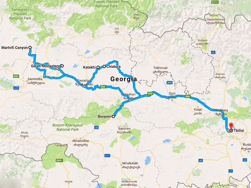 map-Adventure Tour to Georgia