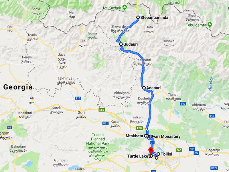 map-Paragliding Tour durch Georgien