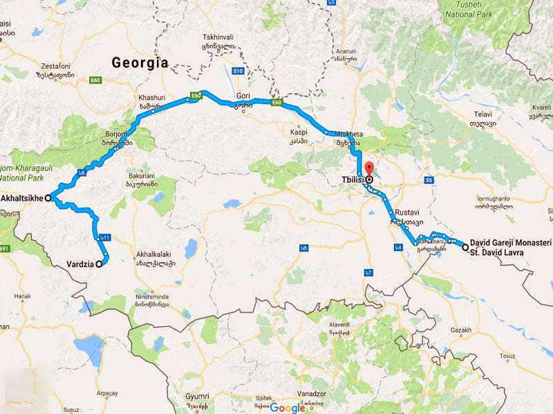 map-Тур в Пещерные города Грузии