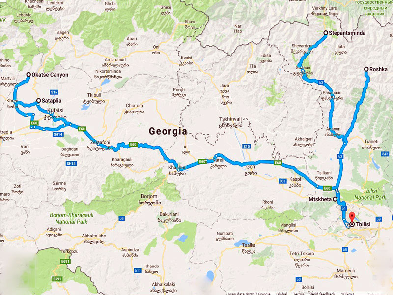 map-Wandertour durch Georgien