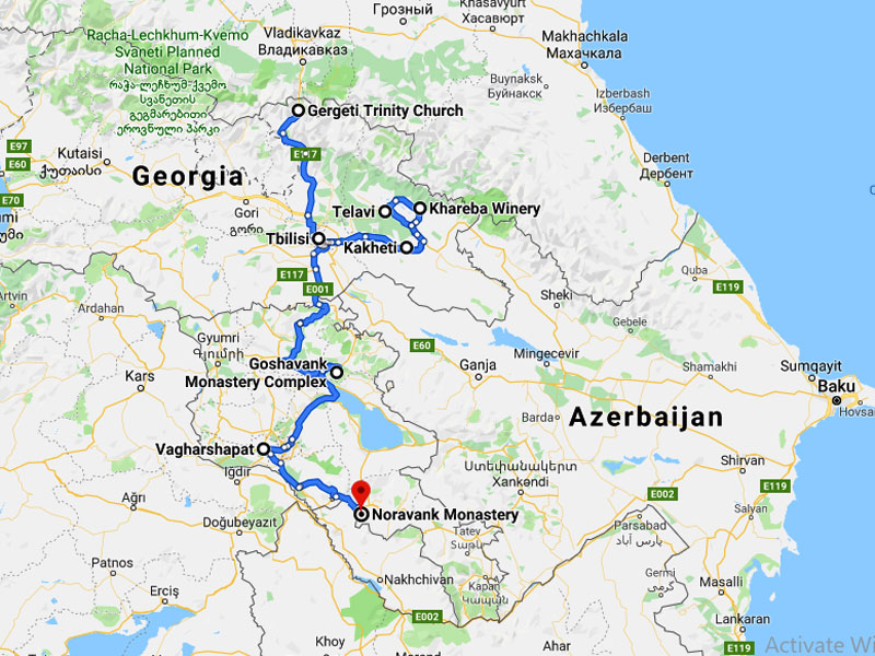map-Georgia and Armenia Classical Tour