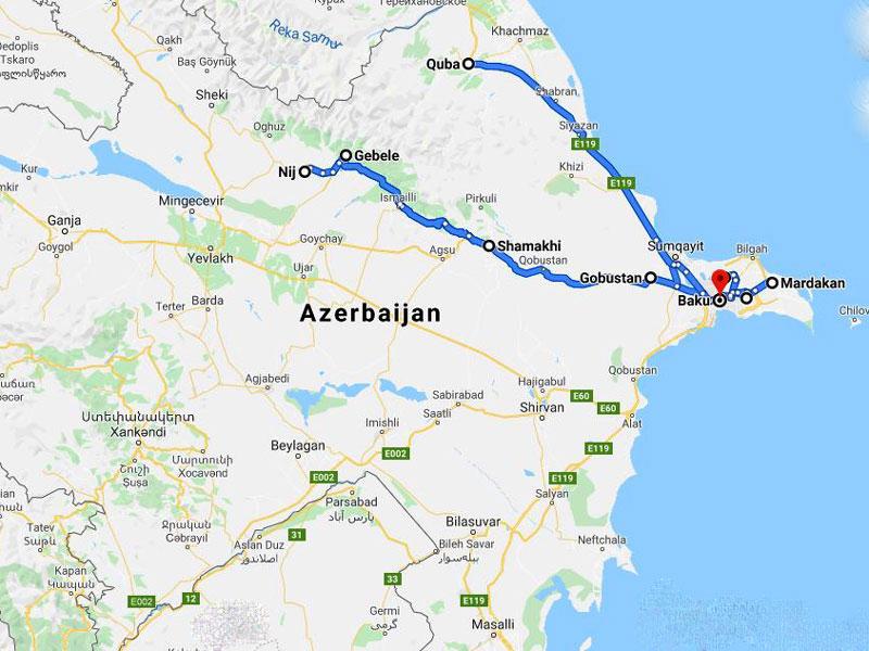 map-Cultural Tour to Azerbaijan